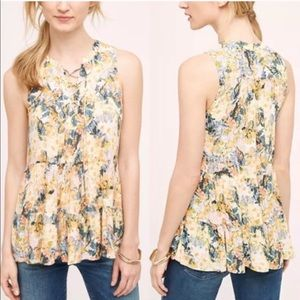 Anthropologie Floreat Tiered Lace Up Floral Top 10